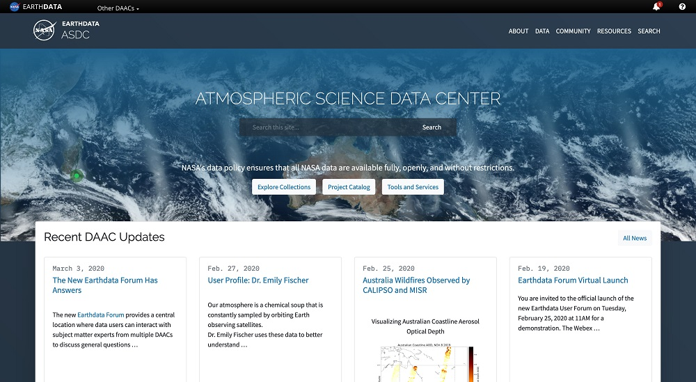 Image of new ASDC home page with the words Atmospheric Science Data Center superimposed over a MODIS daily global image. Below this top bar are boxes highlighting articles and other features.
