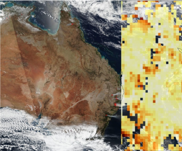 Composite image showing a screenshot from an ASDC microarticle about the Australian wildfires. Left image shows thermal anomalies as red dots on a Suomi NPP true-color image. Right image is a MISR AOD image with yellow and red colors indicating decreased AOD due to wildfires.