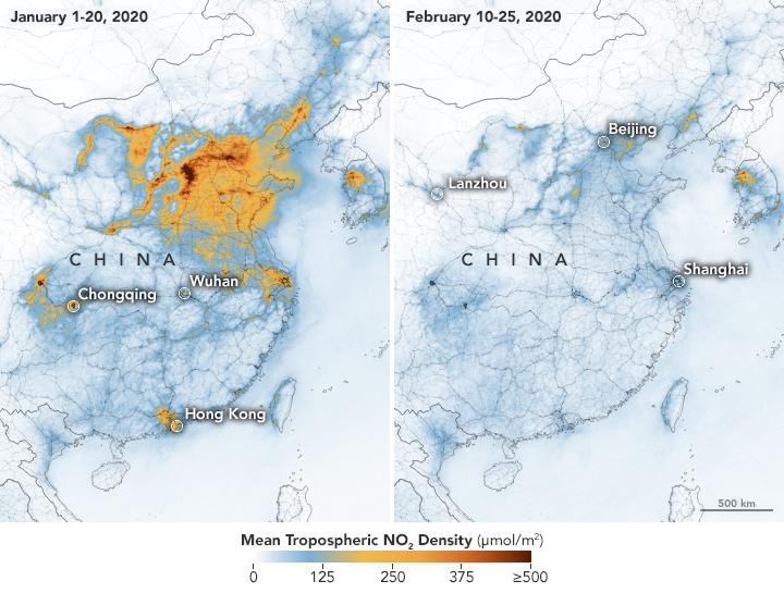 Map showing nitrogen dioxide density data for China in early 2020.