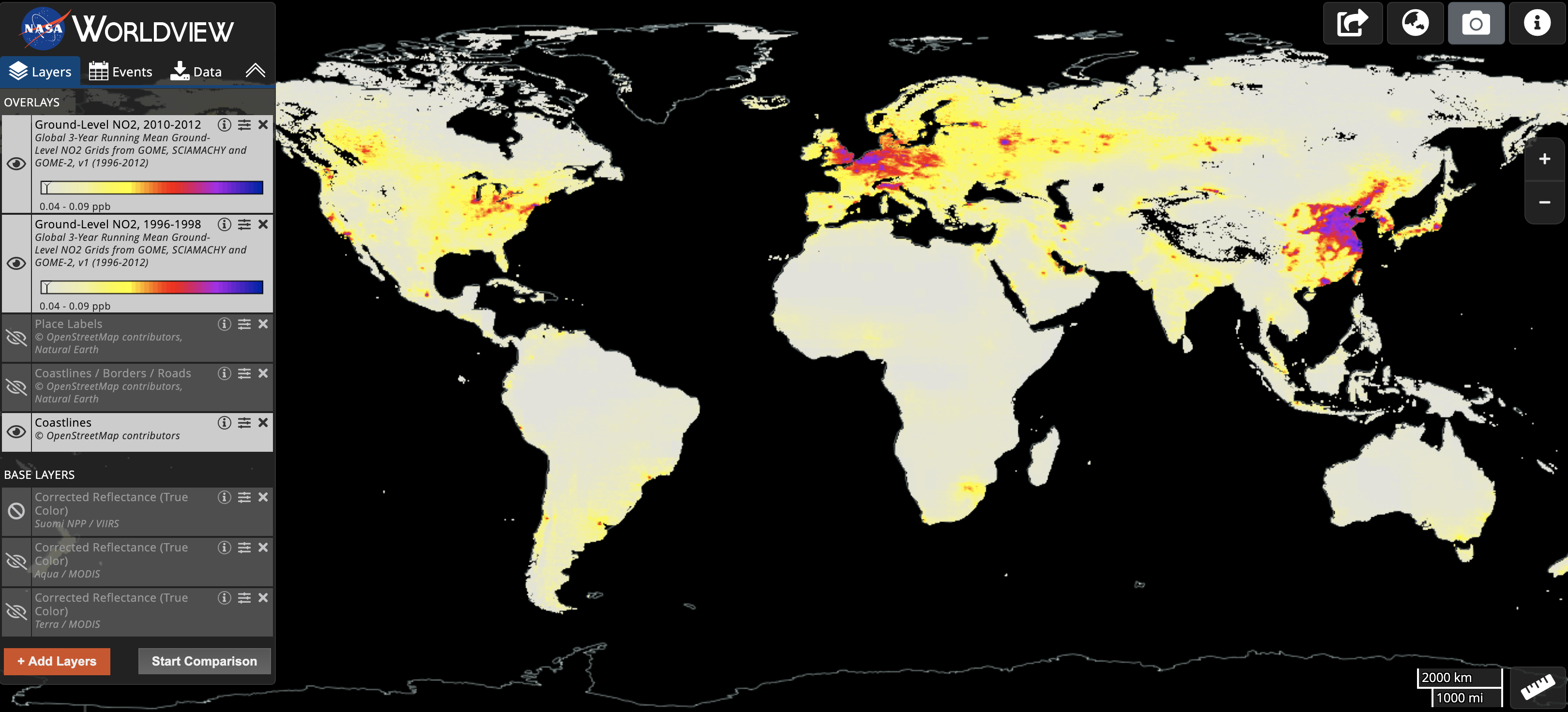 Screenshot of Worldview showing nitrogen dioxide data.