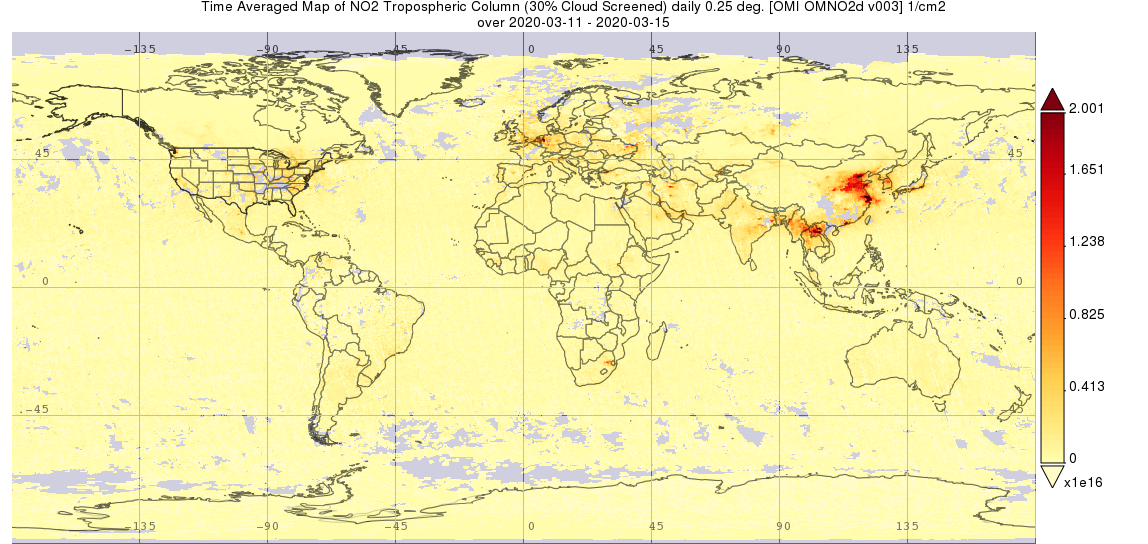 Map of global nitrogen dioxide data from Giovanni.