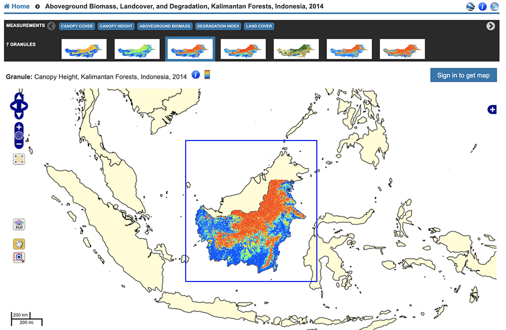 Canopy Height, Kalimantan Forests, Indonesia, 2014 from the Oak Ridge National Laboratory Distributed Active Archive Center Spatial Data Access Tool.