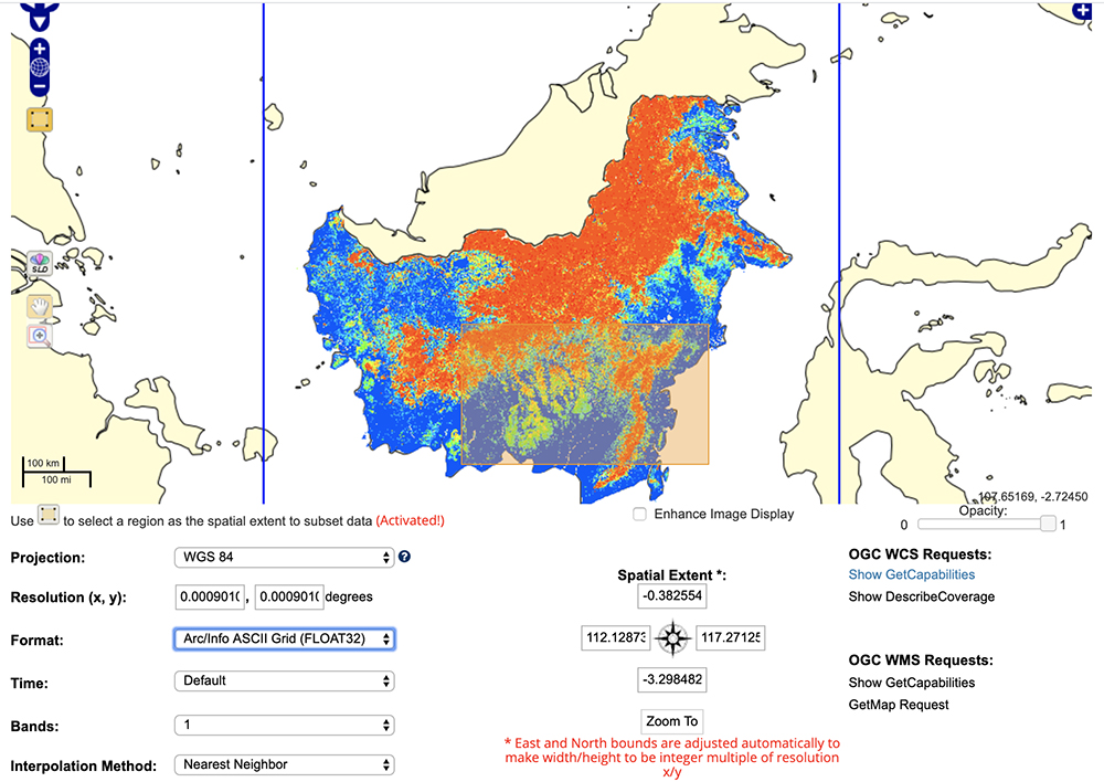 Canopy Height, Kalimantan Forests, Indonesia, 2014 from the Oak Ridge National Laboratory Distributed Active Archive Center Spatial Data Access Tool with various output options.