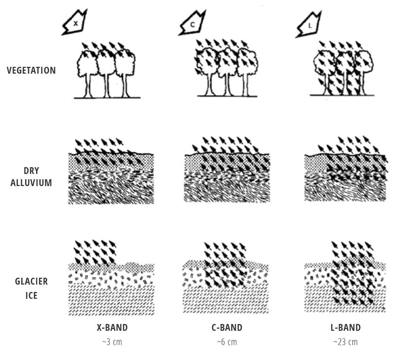 SAR signal penetration by sensor wavelength λ