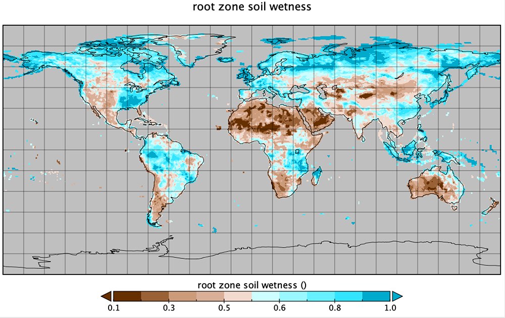 Rootzone soil wetness from the Modern-Era Retrospective analysis for Research and Applications version 2 (MERRA-2) land surface diagnostics data product.