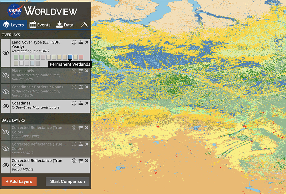 MODIS Land Cover Type as seen in the visualization tool Worldview.