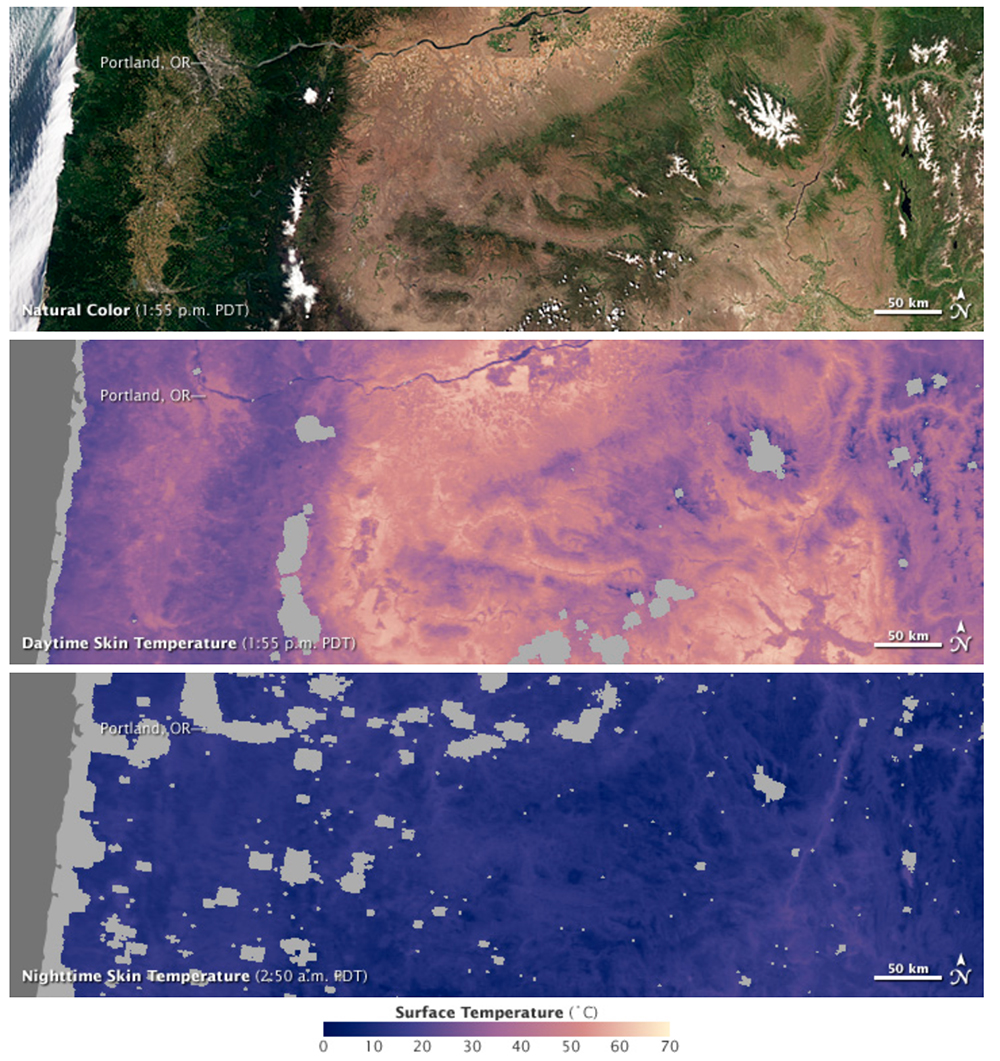 Satellite images show the relationship between the characteristics of a landscape, and day and night surface skin temperature. Heavily forested areas remain relatively cool throughout the day, while barren and arid areas can be tens of degrees warmer. These images were acquired in the early morning and afternoon of July 6, 2011.