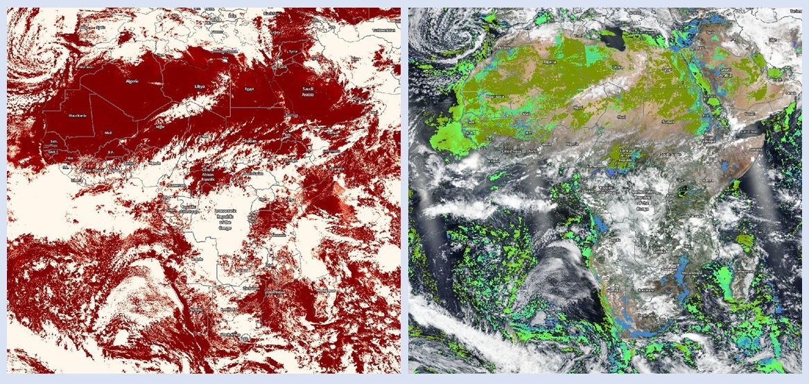 Image showing side-by-side comparison of examples of Cloud Mask and Deep Blue Aerosol product overlain on a Worldview Suomi NPP image of Africa.