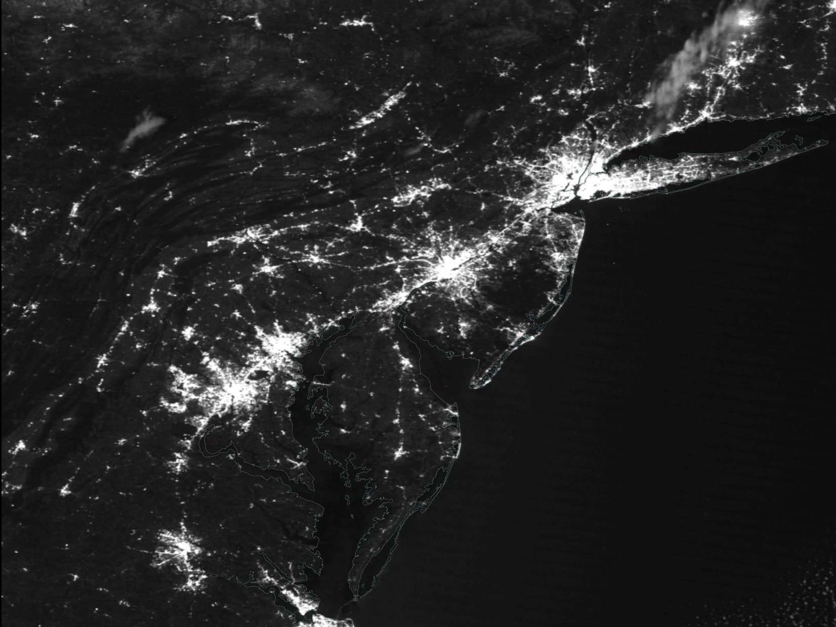 US East Coast at Night on 9 April 2020