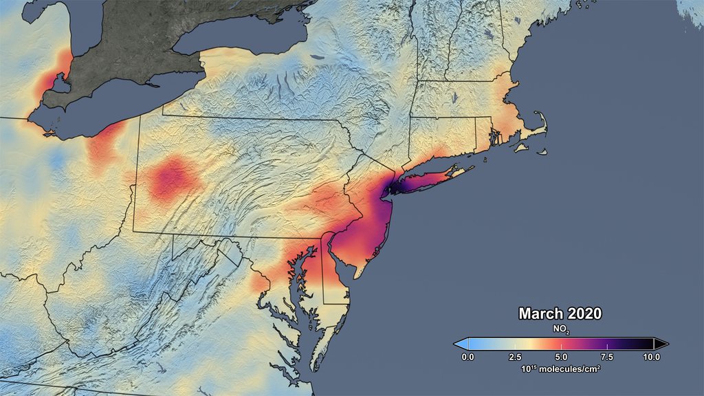 March 2020, nitrogen dioxide concentration Northeast U.S.
