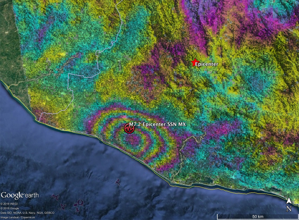 Interferogram from Sentinel-1 SAR data acquired 2018/02/17 and 02/05 shows earthquake fault slip on a subduction thrust fault causing up to 40 cm of uplift of the ground surface. The motion has been contoured with 9 cm color contours, also known as fringes.