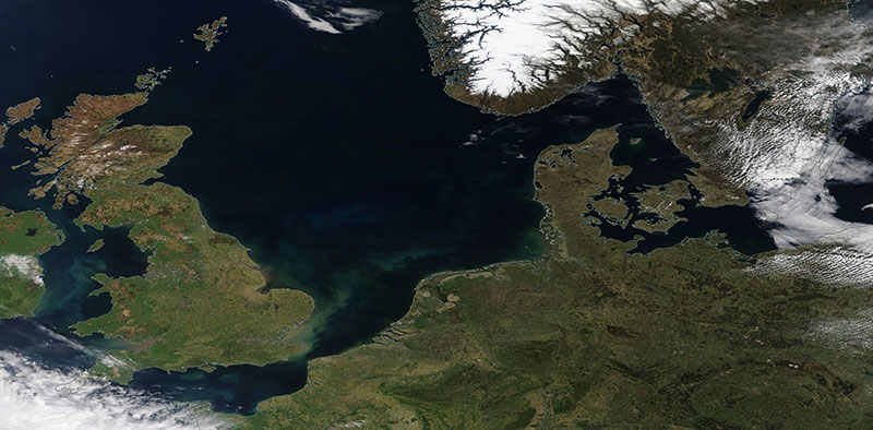 Clear Skies over the North Sea and surrounding countries (Terra/MODIS)