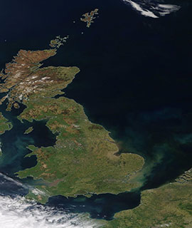 Clear Skies over the North Sea and surrounding countries (Terra/MODIS) - Feature Grid