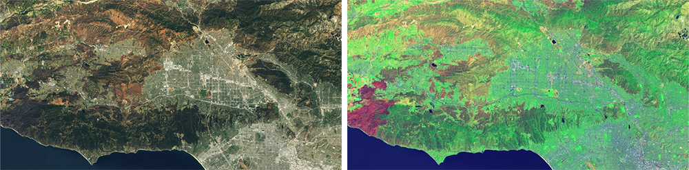 Fire scars reflect strongly in Landsat's band 7, which acquires data in the shortwave infrared range. Its impossible to miss in the right-hand image below as a reddish mark, whereas in the standard RGB image on the left, the fire scar is not even recognizable.