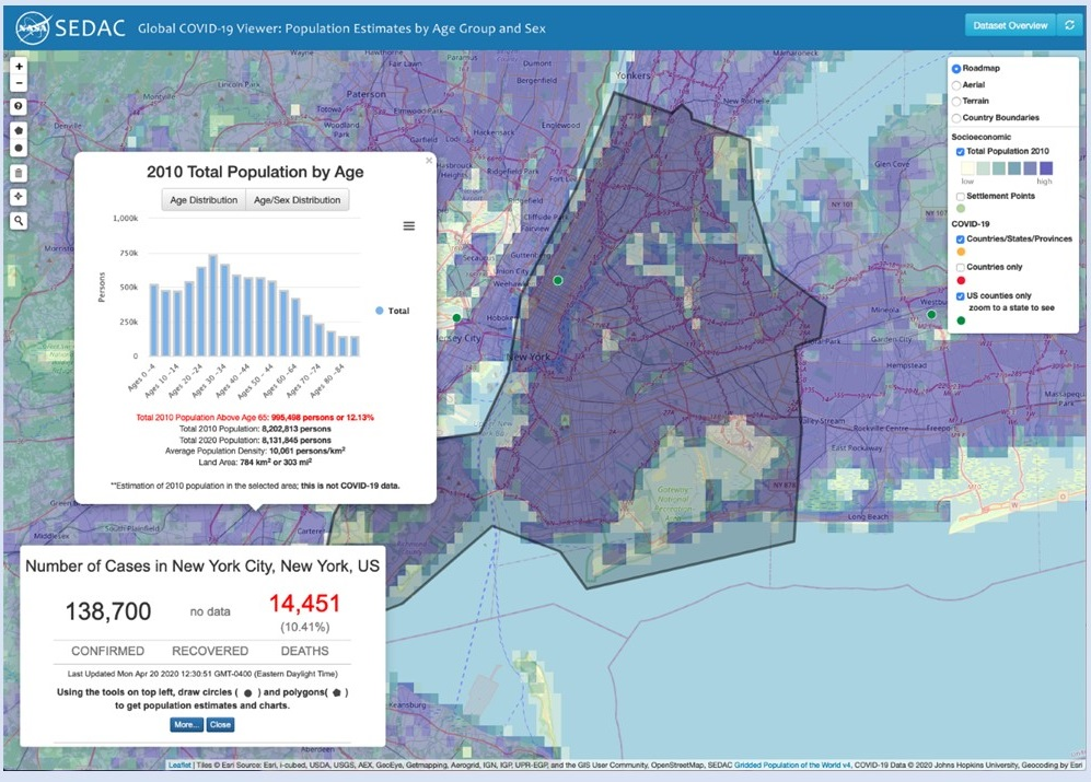 Screenshot from COVID-19 Viewer showing map of New York City overlain with two data boxes: one shows COVID-19 metrics as of the time and day of the image; the other shows a demographic table of the area highlighted in the base map.