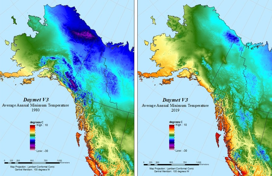 Side-by-side images of Alaska and Western Canada with colors indicating average annual minimum temperature. Right image from 2019 clearly shows higher average annual minimum temperatures, as indicated by colors indicating higher temperatures.