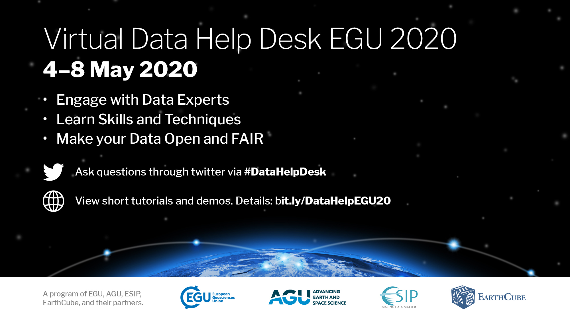 postcard with information for the virtual data help desk at EGU 2020: Sharing Geosciences Online