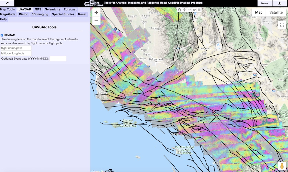 GeoGateway Tool showing the Uniform California Earthquake Rupture Forecast faults, along with the UAVSAR flight paths as processed interferograms.