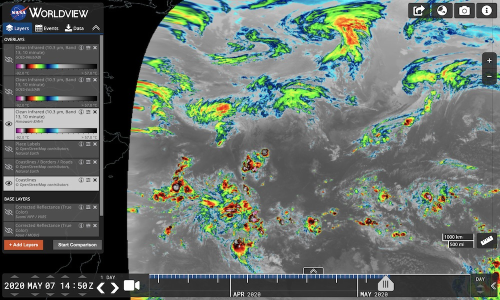 The Clean Infrared (10.3 um, Band 13) layer from the Advanced Himawari Imager (AHI), as visualized in Worldview, is useful for detecting clouds all times of day and night and is quite useful in retrievals of cloud top height.