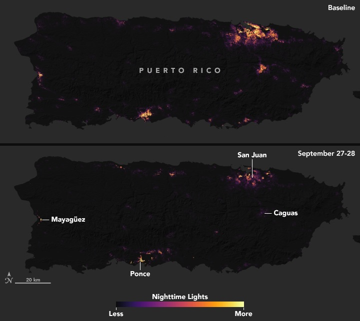 Top image shows a typical night before Hurricane Maria made landfall, based upon cloud-free and low moonlight conditions; the below image is a composite that shows light detected by VIIRS on the nights of September 27 and 28, 2017. The images above show widespread outages around San Juan, including key hospital and transportation infrastructure.
