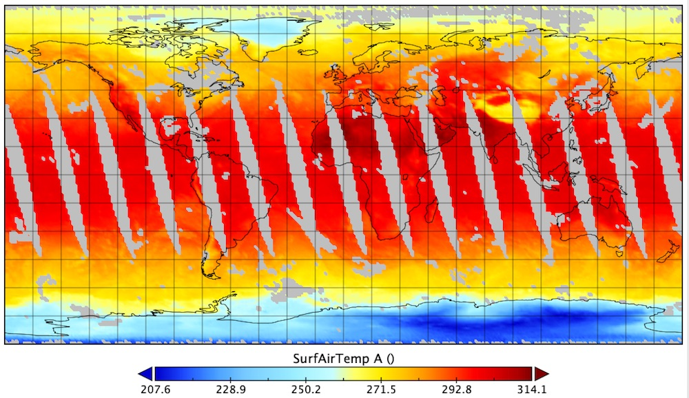 ​Surface air temperature, measured in Kelvin,​ from the Atmospheric Infrared Sounder (AIRS), May 9, 2020, visualized in Panoply.