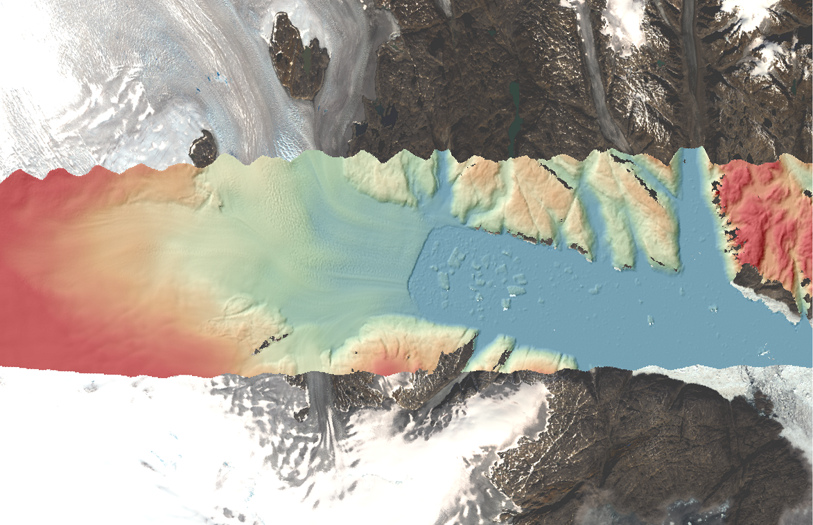 Multi-colored glacier image showing elevation change from left to right (west to east) with colors changing from red (left side, higher elevation) to blue (right side, low elevation/sea level).