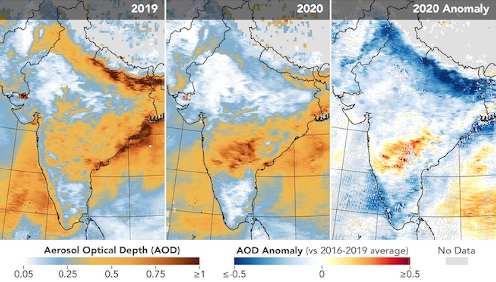 The first five maps above show aerosol optical depth (AOD) measurements over India during the same March 31 to April 5 period for each year from 2016 through 2020. The sixth map (anomaly) shows how AOD in 2020 compared to the average for 2016-2019. Data show that aerosol levels have dropped significantly since the COVID-19 lockdown began.