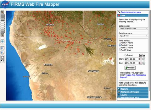 FIRMS Web Fire Mapper showing fires/hotspots in Angola, Namibia and Botswana