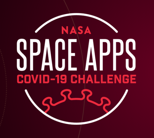 "Dark square with the words ""NASA Space Apps COVID-19 Challenge"" in the center; a semi-circular stylized representation of the bumpy COVID-19 virus is at the bottom."