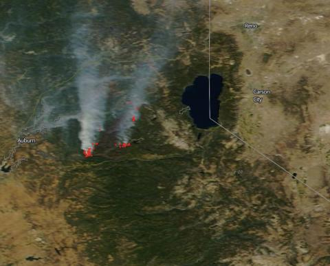 A MODIS image of California's King Fire from September 24, 2014