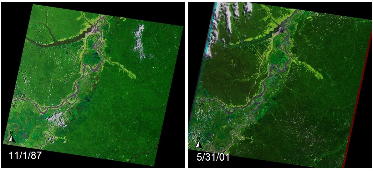 "Side-by-side images of Iquitos, Peru. Left image from 1987 shows more dark green than right image from 2001. ""North"" pointer arrow and image dates appear in lower left corner of both images."