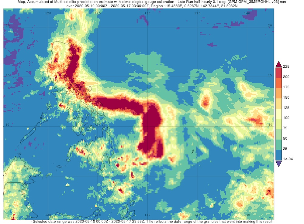 Surface rainfall accumulations (mm) estimated from the NASA IMERG satellite precipitation product from 10 to 17 May 2020 in association with the passage of Typhoon Vongfong.