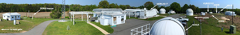 A panoramic view of the space geodesy systems at the Goddard Geophysical and Astronomical Observatory. Image courtesy: NASA GGAO.