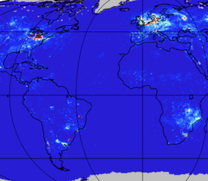 Screenshot of OMI/Aura NO2 tropospheric column L3 data.