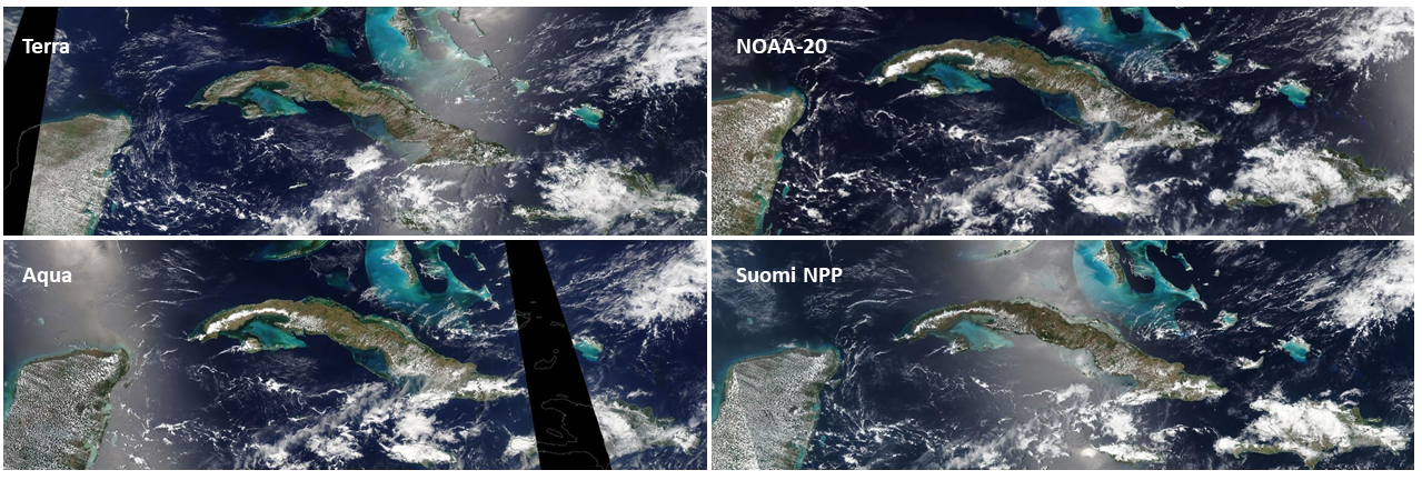Panel of four true color images of Cuba showing blue water surrounding the brown island; white clouds increase with images acquired later in the day.