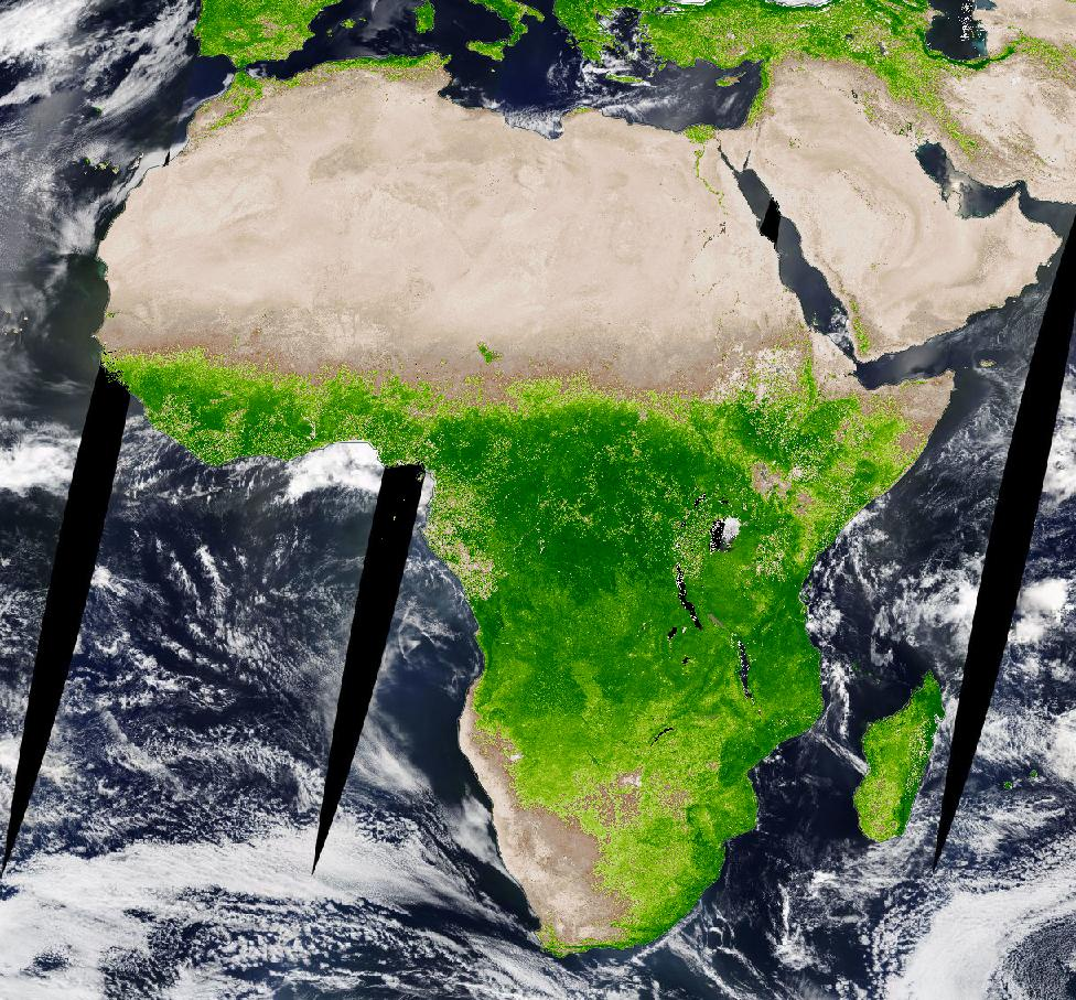 Image of Africa and the Middle East. Lower half of Africa is bright green, indicating healthy vegetation. The northern quarter of Africa and the Middle East is brown, indicating sparse or unhealthy/stressed vegetation.