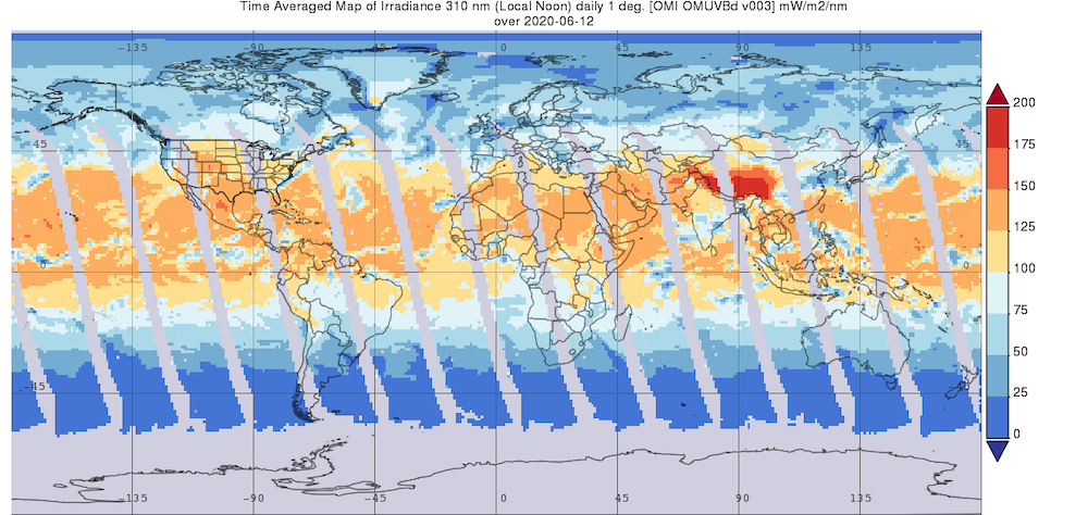 Time Averaged Map of Irradiance at a wavelength of 310 nm (Local Noon) for June 12, 2020 in . Data are from the Ozone Monitoring Instrument (OMI) aboard the Aura spacecraft.