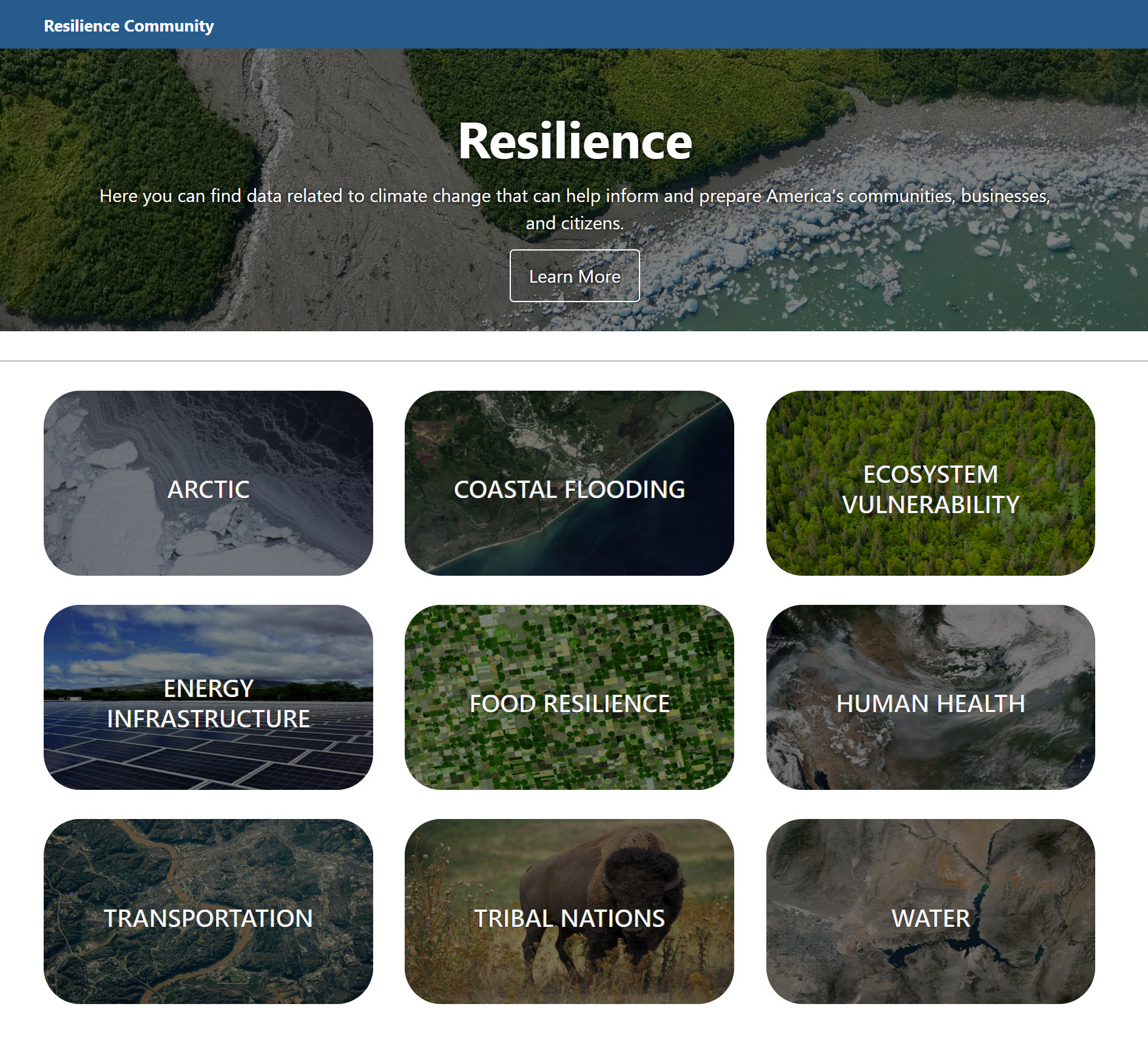 Screenshot of the Geoplatform Resilience web site.