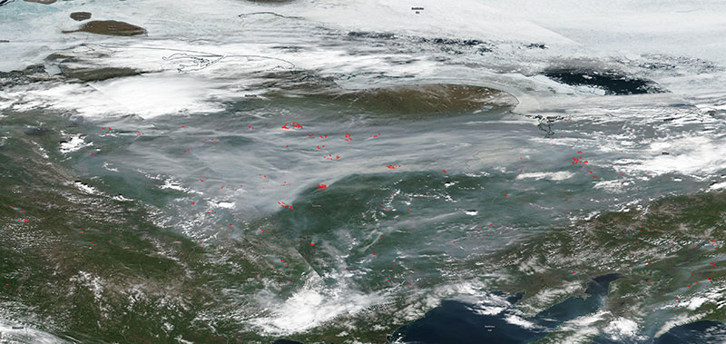 Fires and Smoke in Eastern Russia on 22 June 2020 (Suomi NPP/VIIRS)
