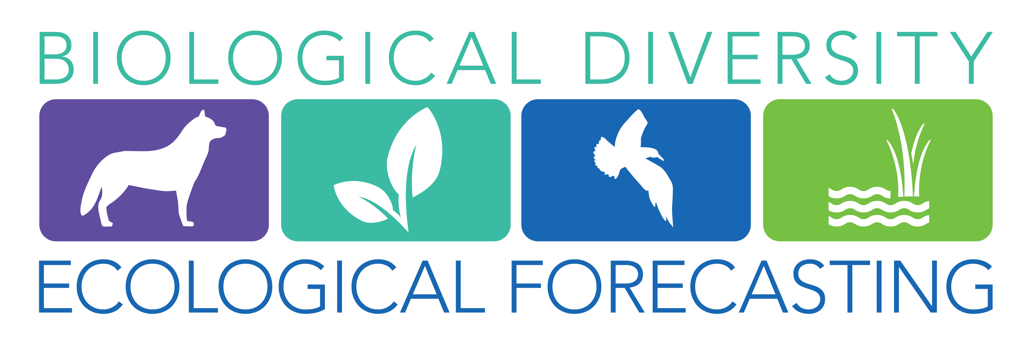 Biological Diversity and Ecological Forecasting Campaign logo , which contains images of a wolf, a leaf, a bird and aquatic vegetation