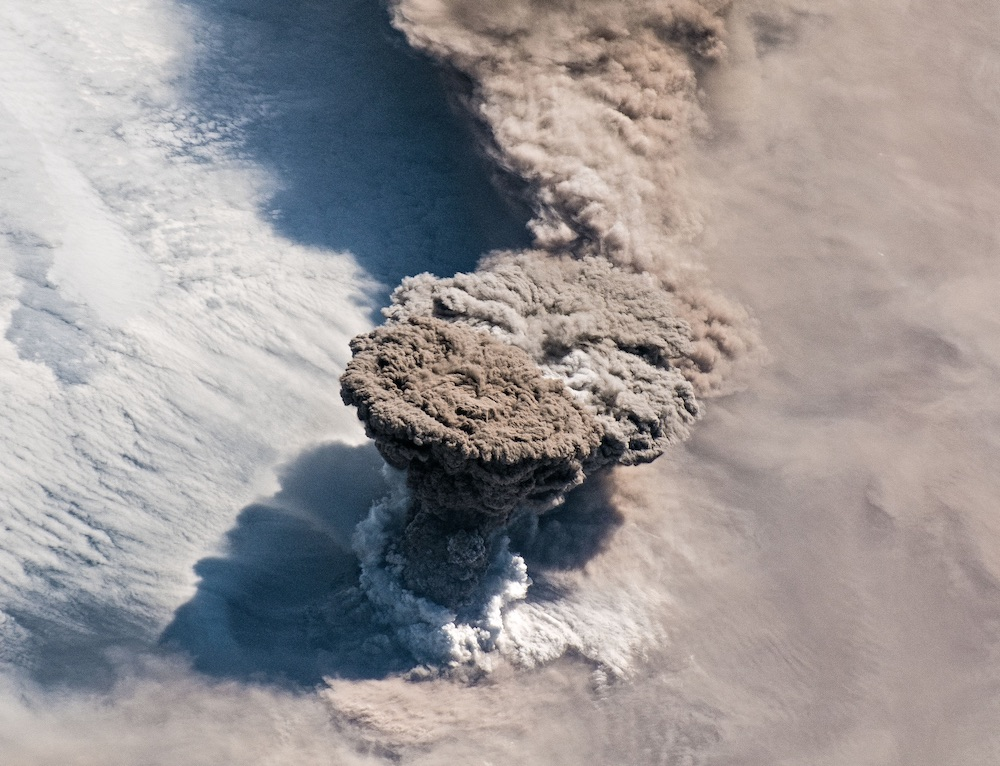 An unexpected series of blasts from a remote volcano in the Kuril Islands sent ash and volcanic gases streaming high over the North Pacific Ocean, June 22, 2019.