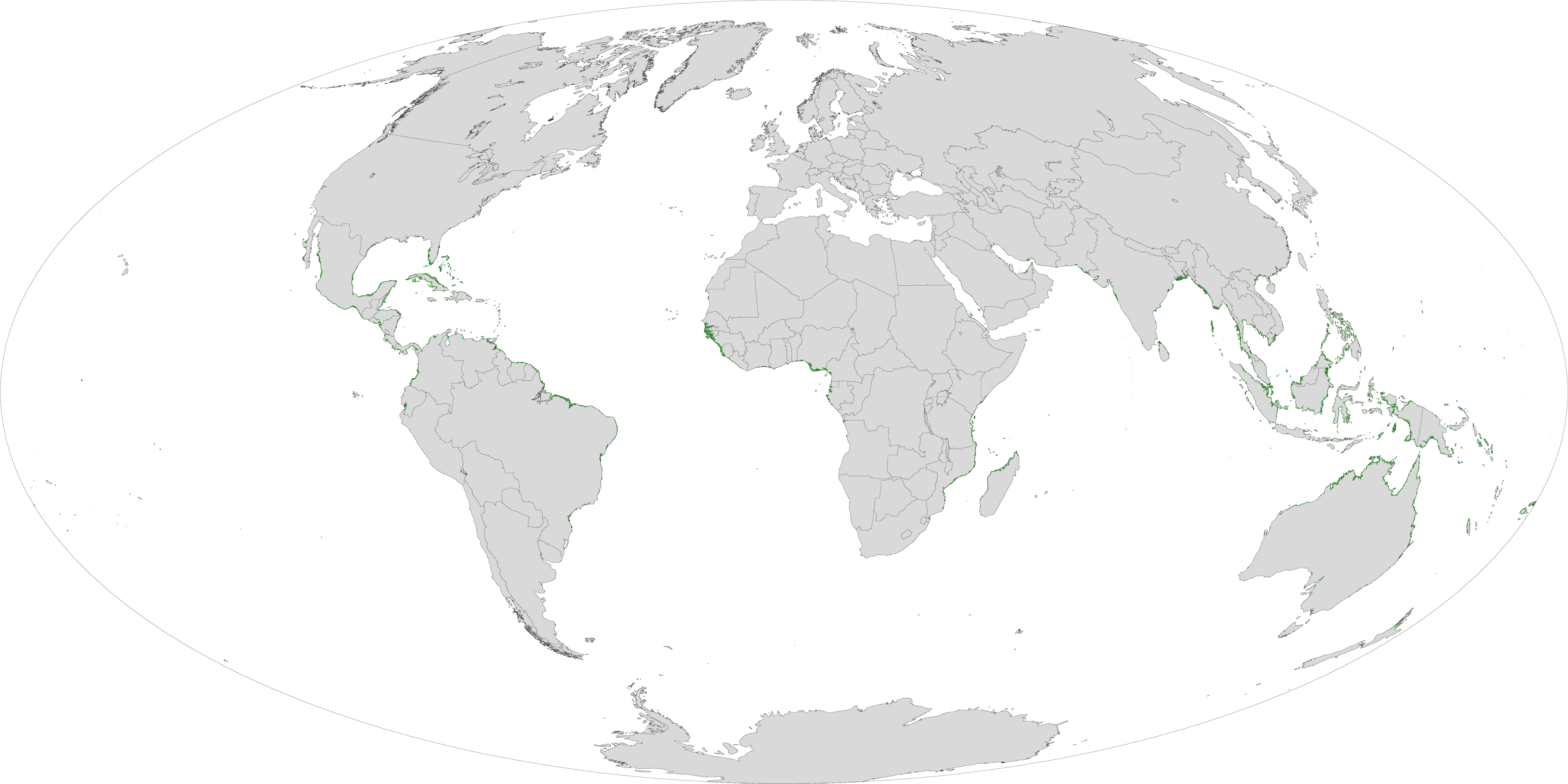 Map shows global mangrove forests distribution by Giri et al.