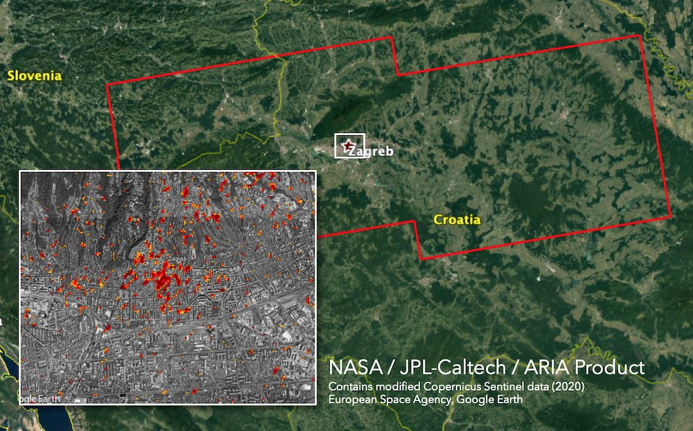 Advanced Rapid Imaging and Analysis (ARIA) Damage Proxy Map (DPM) depicting areas that are likely damaged caused by the 2020 Zagreb Earthquake. The map was derived from synthetic aperture radar (SAR) images from the Copernicus Sentinel-1 satellites, operated by the European Space Agency (ESA). The team compared the post-event image acquired on March 23, 2020 with pre-event images taken since January 2020.