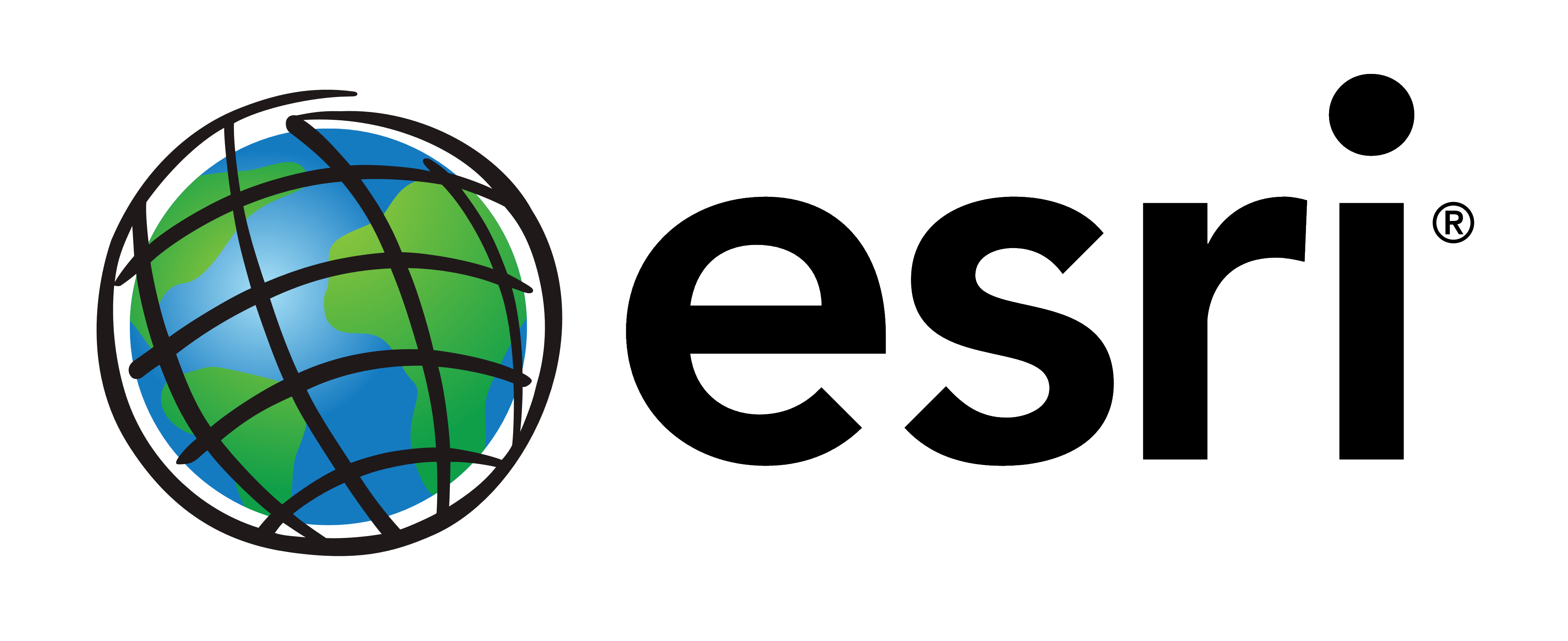 "Stylized globe on left with the word ""esri"" in all lowercase black text on right."
