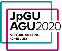 "Letters ""JpGU"" over words ""AGU Joint Meeting 2020"" which are both above the words ""virtual meeting 12-16 July, all surrounded by two interlocking squares, one teal, one purple."