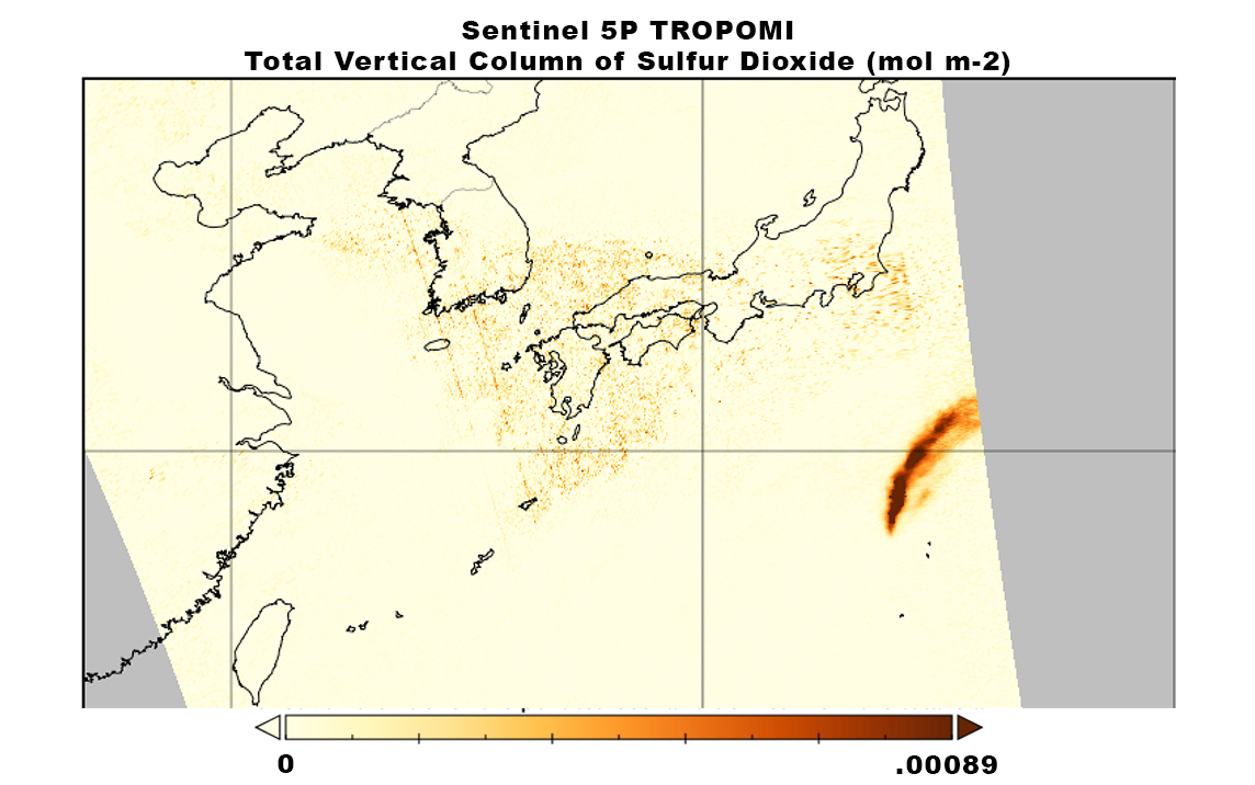 Nishinoshima Volcano, off the coast of Japan, emits a plume of sulfur dioxide as it erupts, July 3, 2020. Data are from the Sentinel 5P TROPOspheric Monitoring Instrument (TROPOMI).