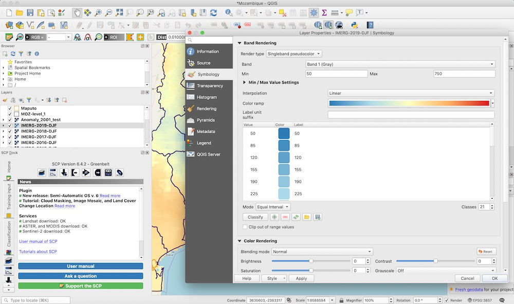 Modifying symbology on raster layer in QGIS