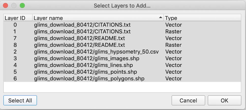 Selecting vector layers to add in QGIS