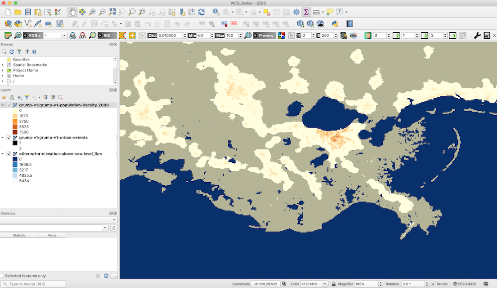SEDAC population density mapped with urban extent and elevation within QGIS