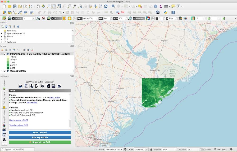 AppEEARS NDVI data visualized in QGIS
